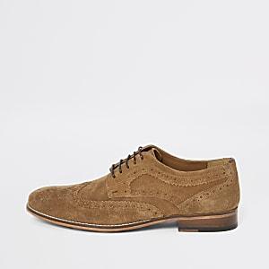 Chaussures derby en daim marron à lacets