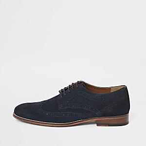 Marineblaue Derby-Schuhe aus Wildleder