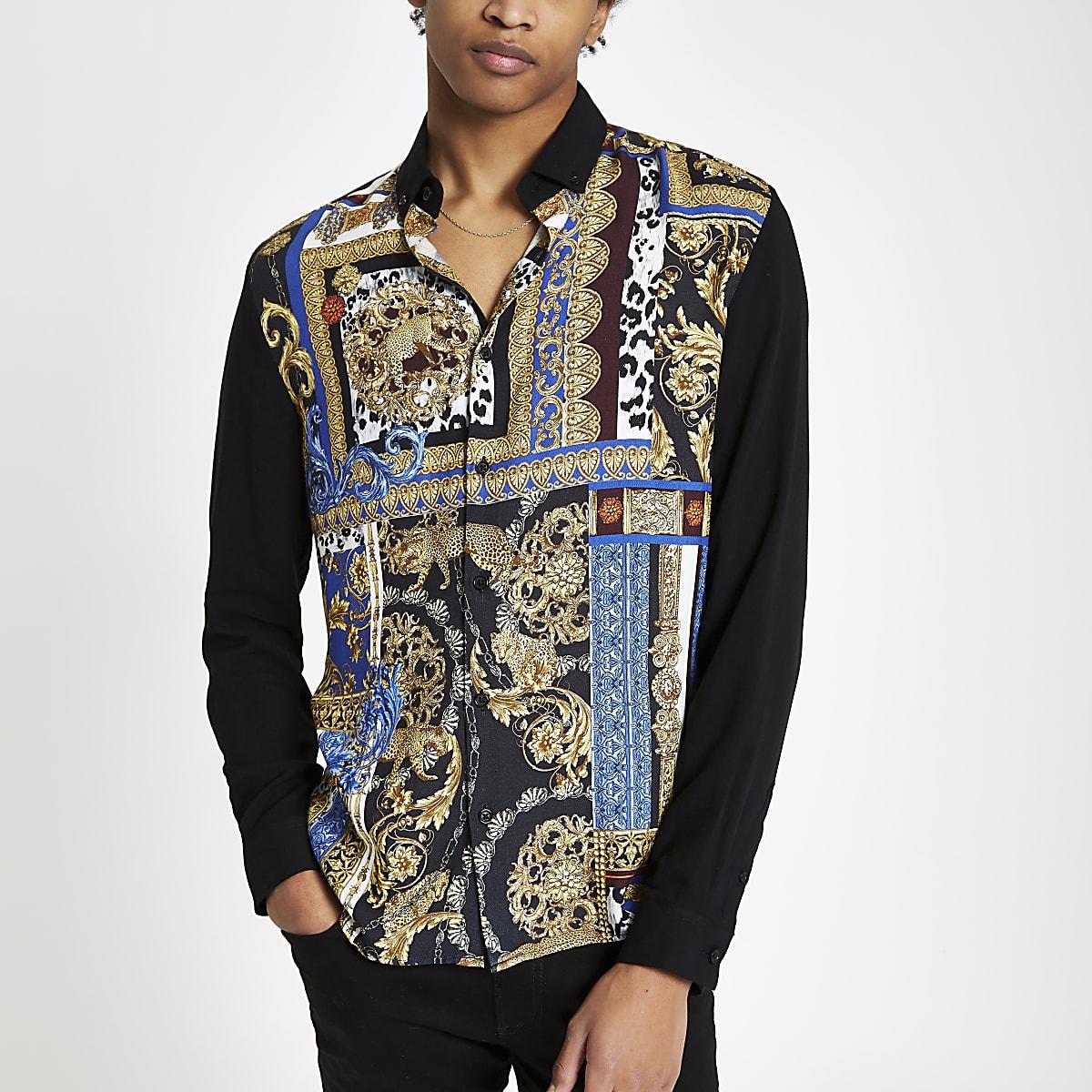 Black baroque print blocked long sleeve shirt