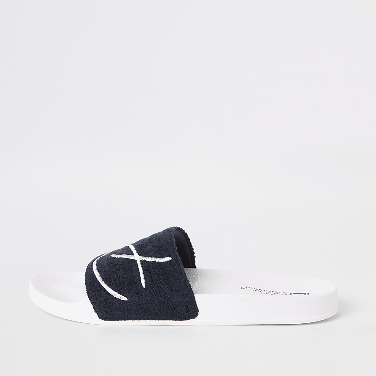 Navy 'Prolific' embroidered sliders