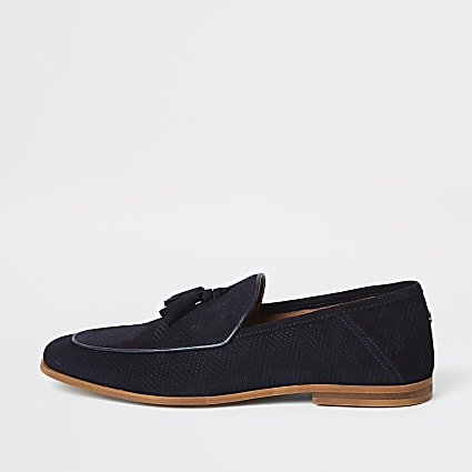 Navy textured tassel front wide fit loafers