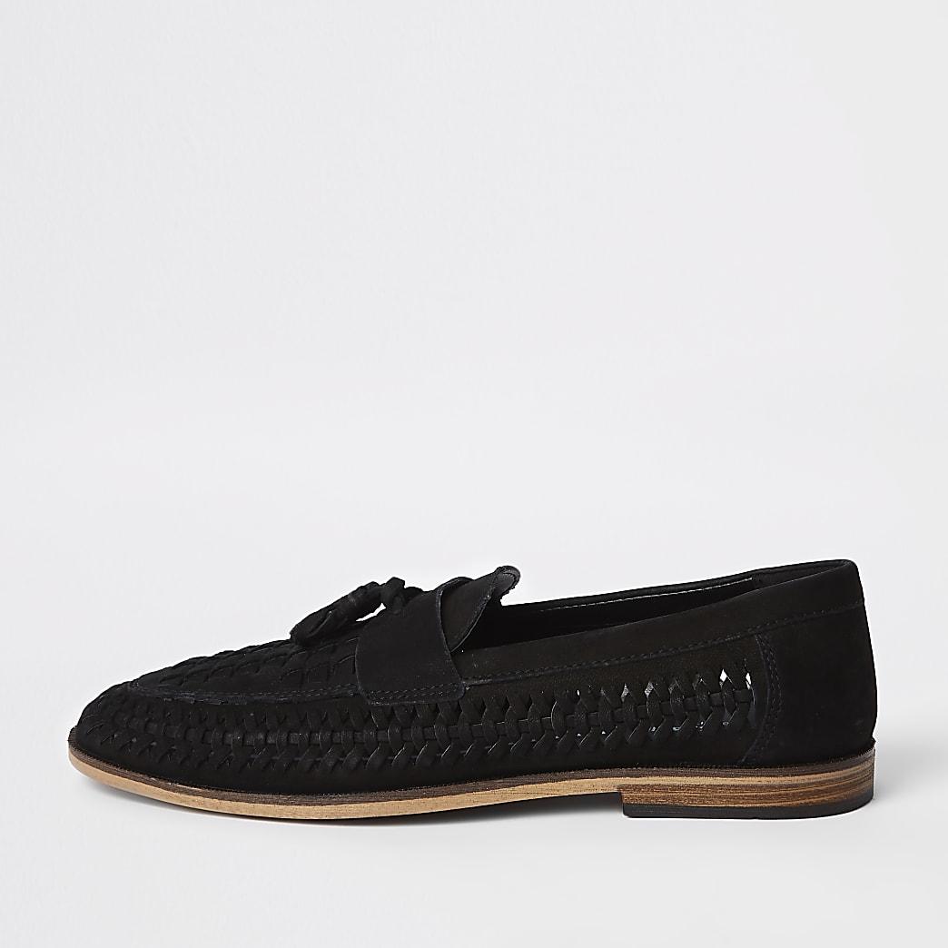 Schwarze Loafer aus Leder, weite Passform