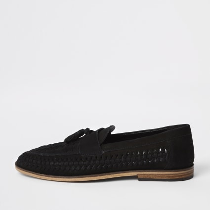 Black wide fit leather tassel front loafers