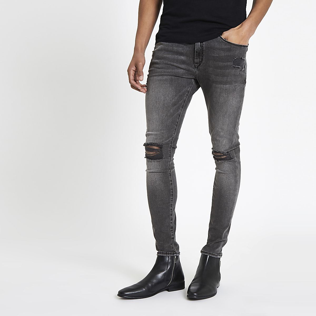 Ollie – Schwarze Spray-on-Jeans im Used-Look mit Waschung
