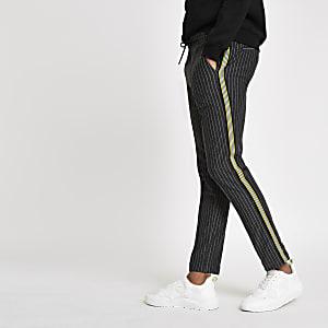 Pantalon de jogging super skinny rayé gris foncé