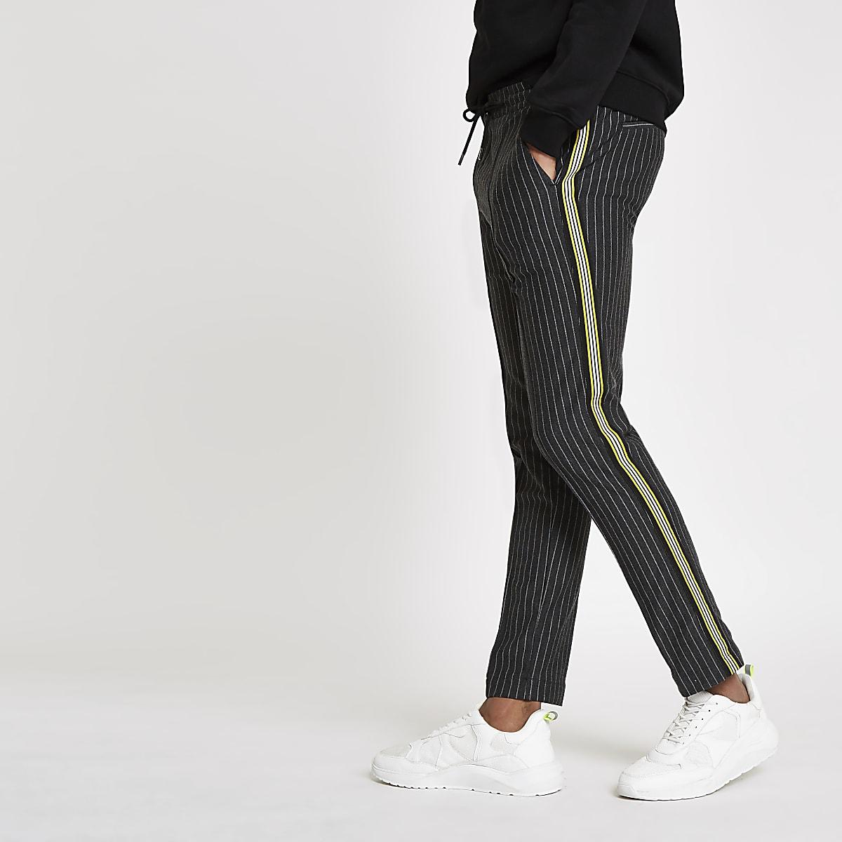 Dark grey stripe super skinny jogger pants