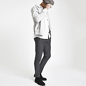Grey pinstripe skinny jogger pants