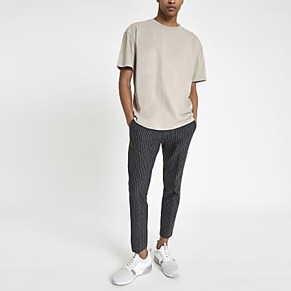 Grey pinstripe super skinny crop trousers