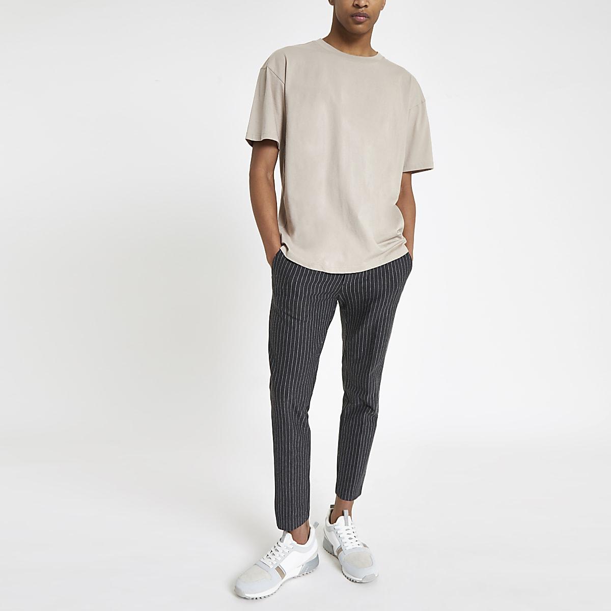 Kurz geschnittene Super Skinny Hose mit Streifen