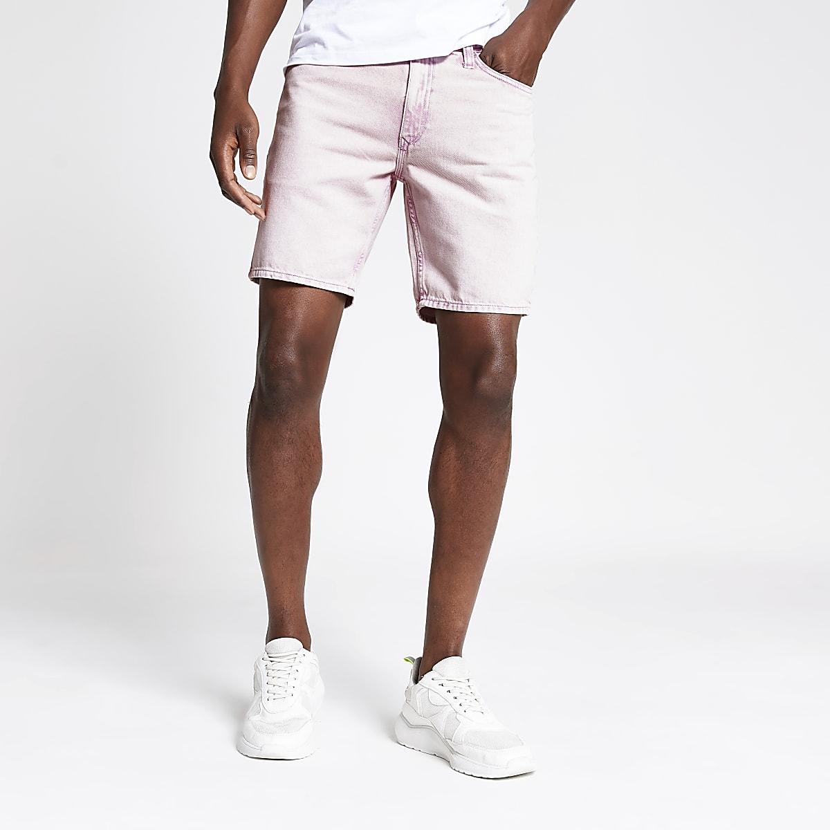 Pink Dylan wash slim fit shorts
