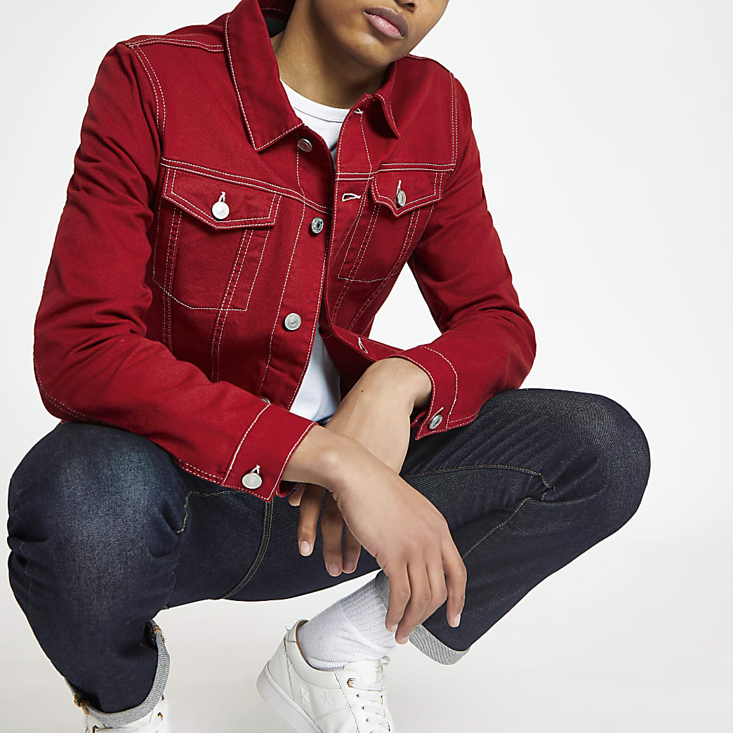 Red contrast stitch classic fit jacket