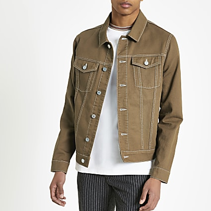 Brown contrast stitch classic fit jacket