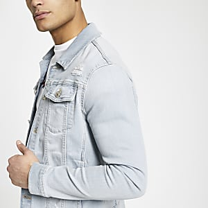 Light blue muscle fit denim jacket