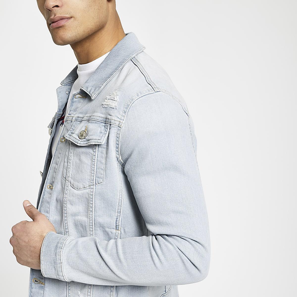 Hellblaue Muscle Fit Jeansjacke