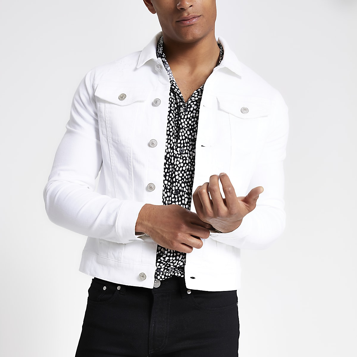 White muscle fit rip and repair denim jacket