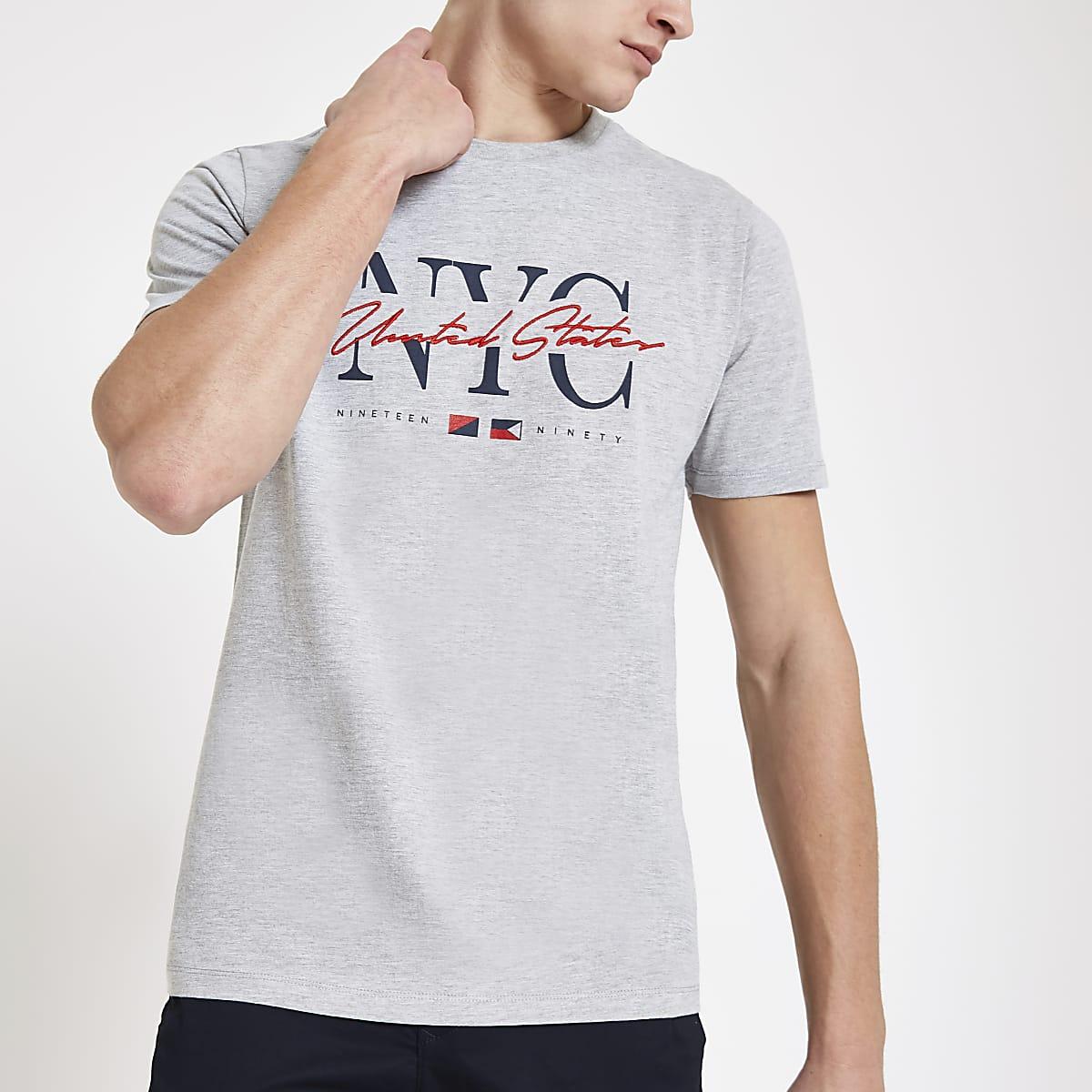 2f1ffad79 Grey 'NYC' slim fit T-shirt - T-shirts - T-Shirts & Vests - men