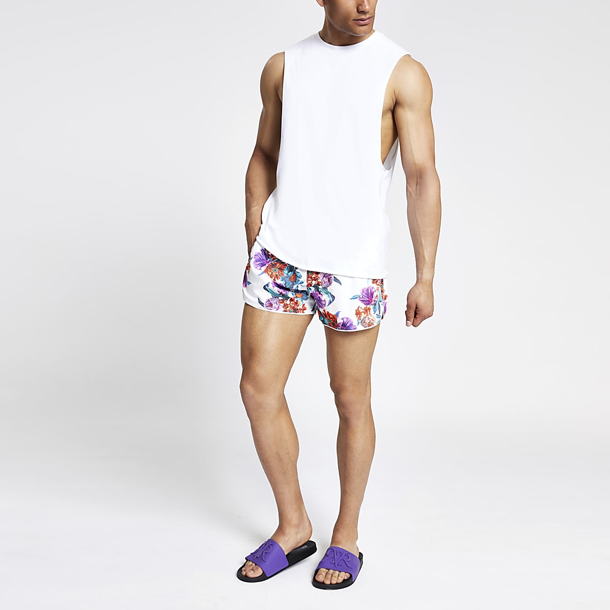 White floral runner swim shorts