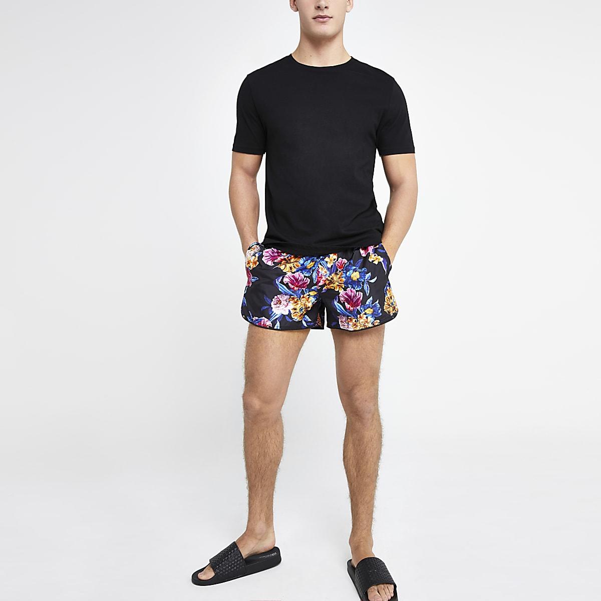 Black floral runner swim trunks