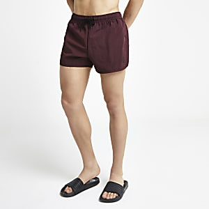 Burgundy runner swim trunks