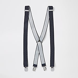 Navy pin dot suspenders
