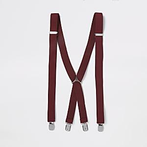Dark red suspenders