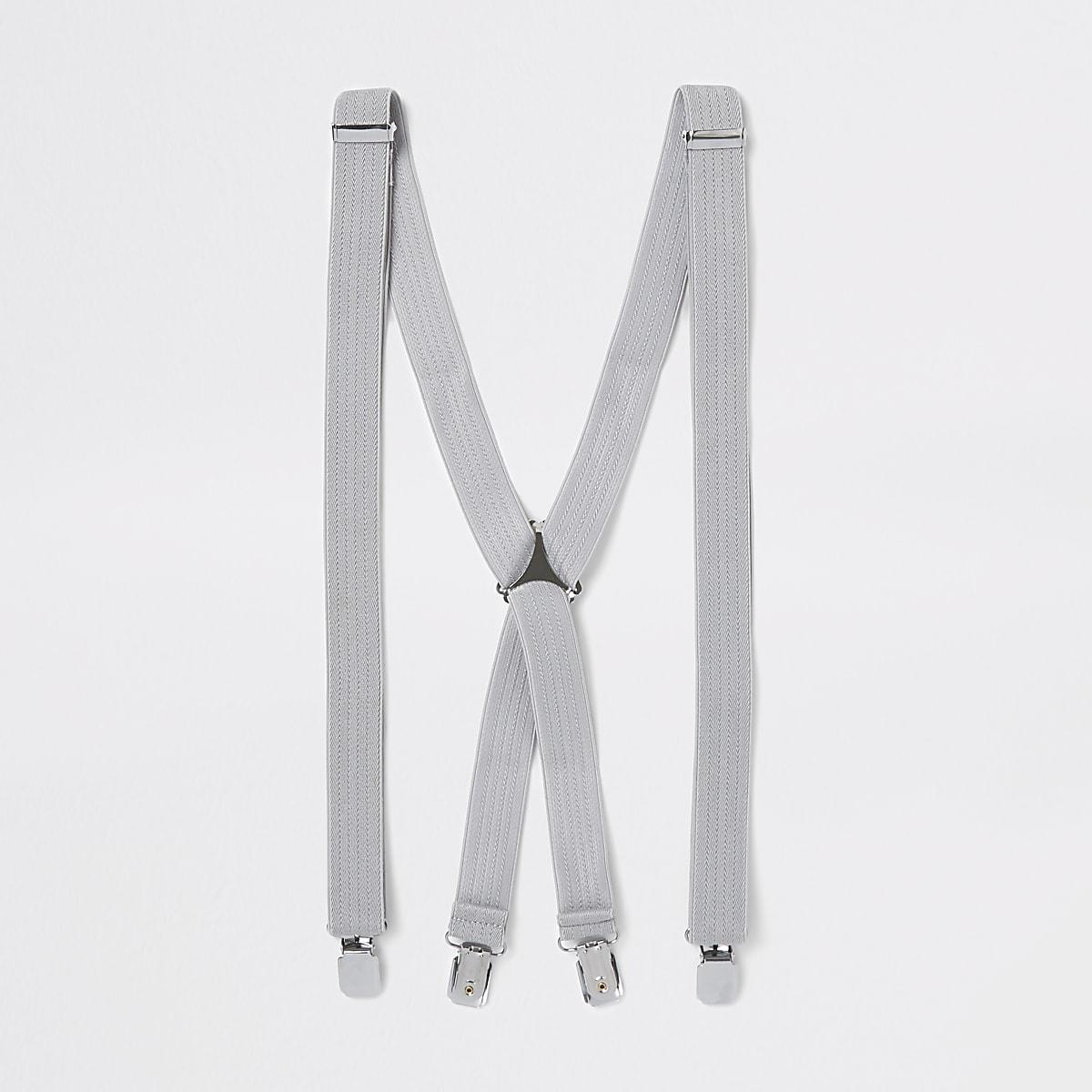 Grey herringbone suspenders