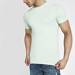 Lichtgroen aansluitend T-shirt met ronde hals