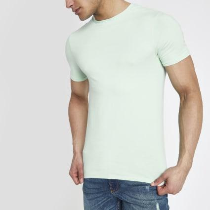Light green muscle fit crew neck T-shirt