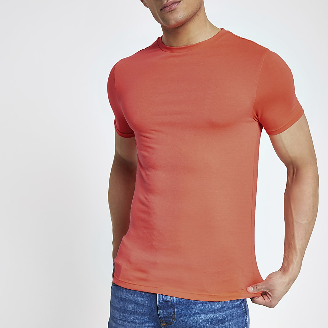 T-shirt ajusté orange vif ras-du-cou