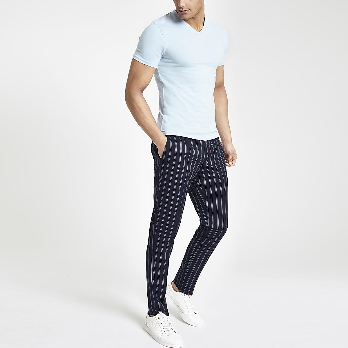 Light blue muscle fit V neck T-shirt