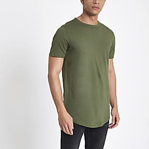 Green double curve hem T-shirt