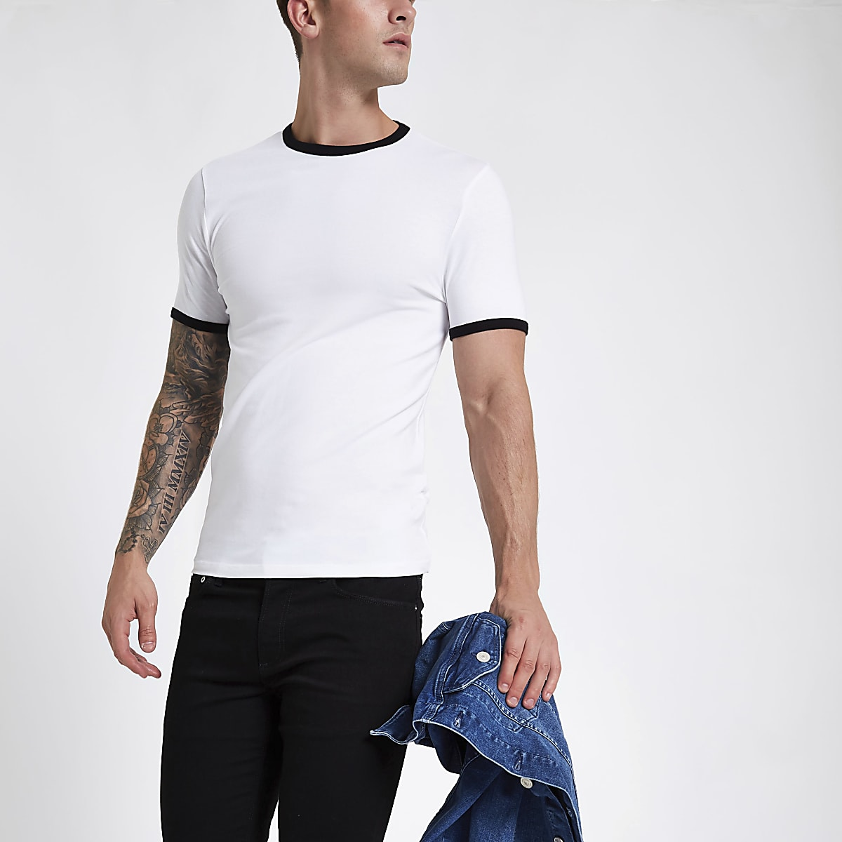 White tipped muscle fit T-shirt