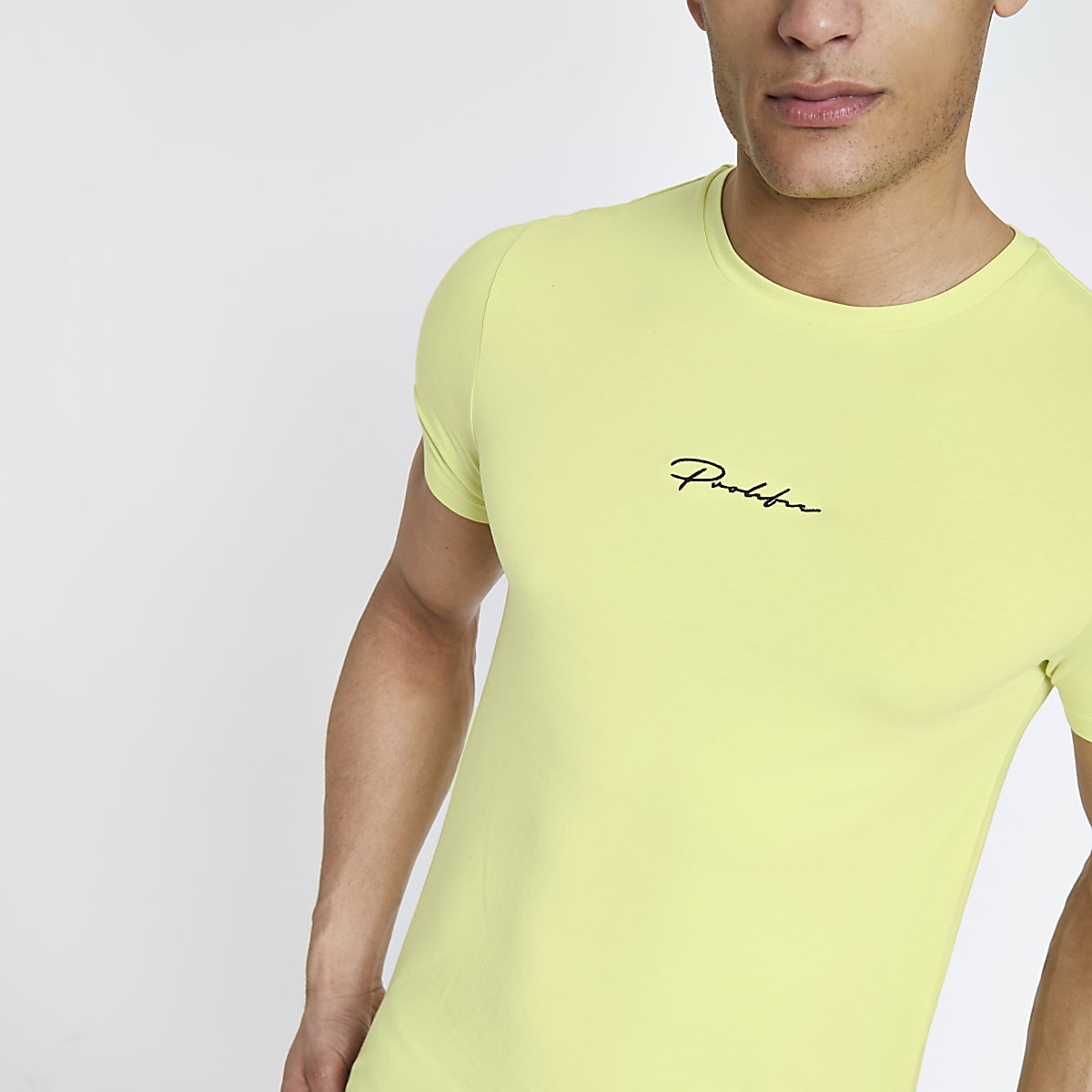 Yellow 'Prolific' muscle fit T-shirt