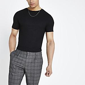 T-shirt ajusté côtelé noir à ourlet arrondi