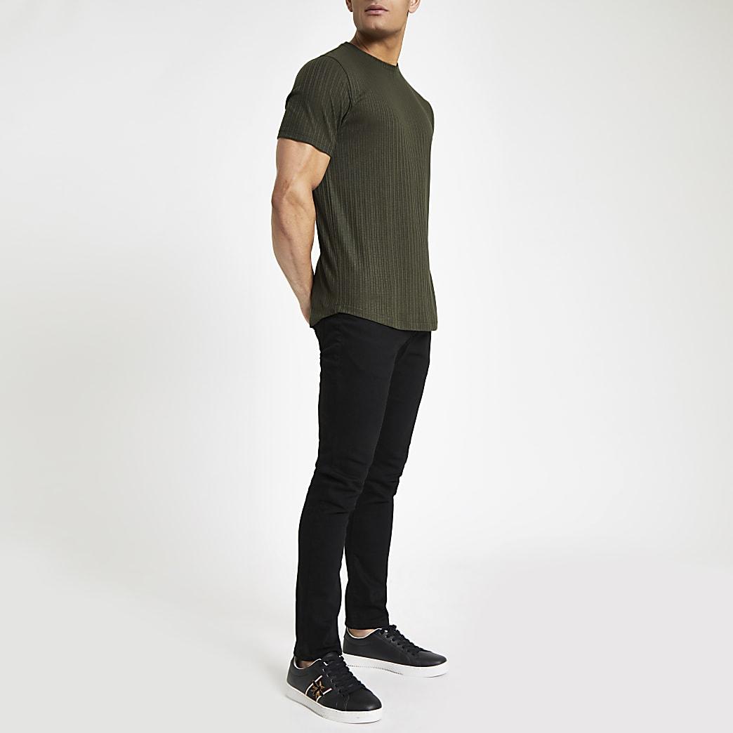 Groene geribbelde slim-fit top