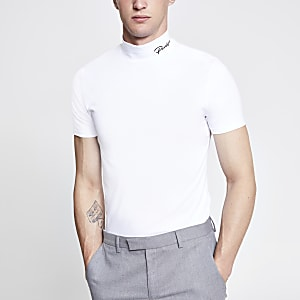 Wit aansluitend T-shirt met 'Prolific'-print en col