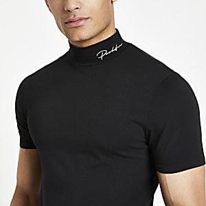 Zwart aansluitend T-shirt met 'Prolific'-print en col