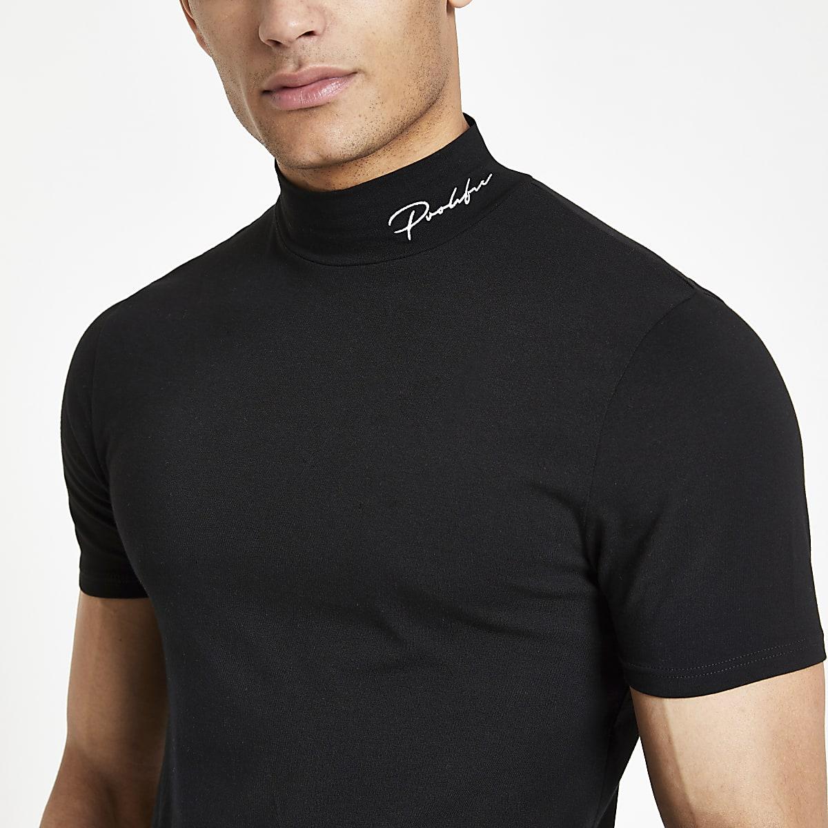 Zwart strak T-shirt met 'Prolific'-print en col