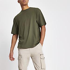 T-shirt oversizekaki à manches courtes