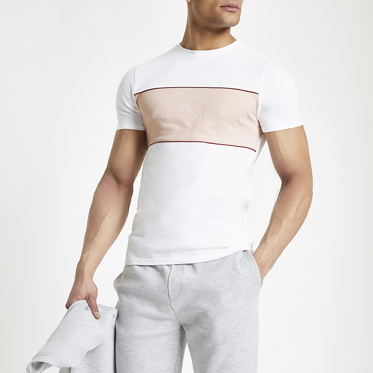 White Maison Riviera muscle fit T-shirt