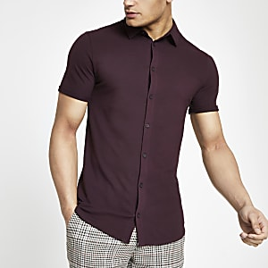 Red muscle fit button through shirt