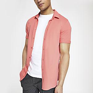 Oranje aansluitend overhemd met korte mouwen