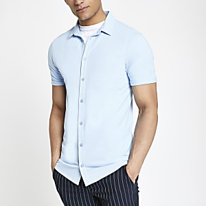 Blue muscle fit button through shirt