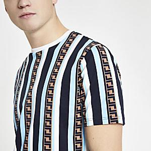 Blaues, gestreiftes Slim Fit T-Shirt