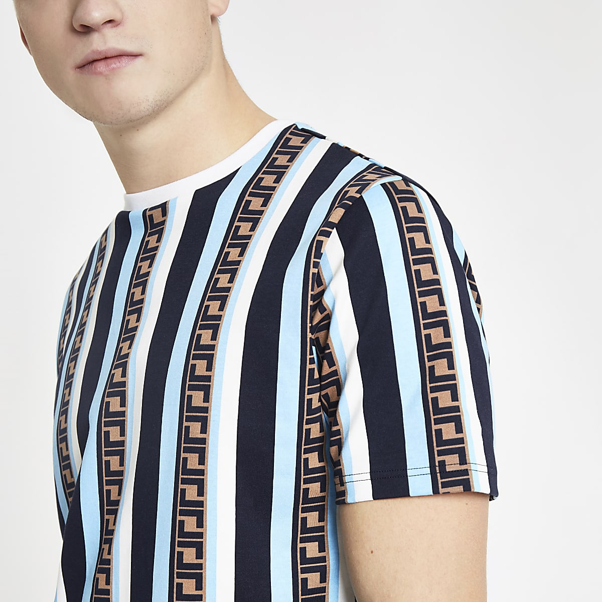 Blue stripe slim fit T-shirt