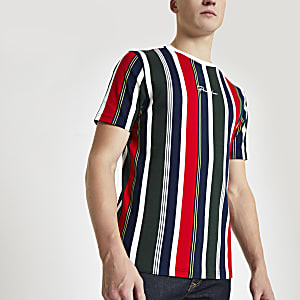 Marineblauw gestreept slim-fit T-shirt met 'Prolific'-print