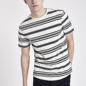 Ecru gestreept slim-fit T-shirt met korte mouwen