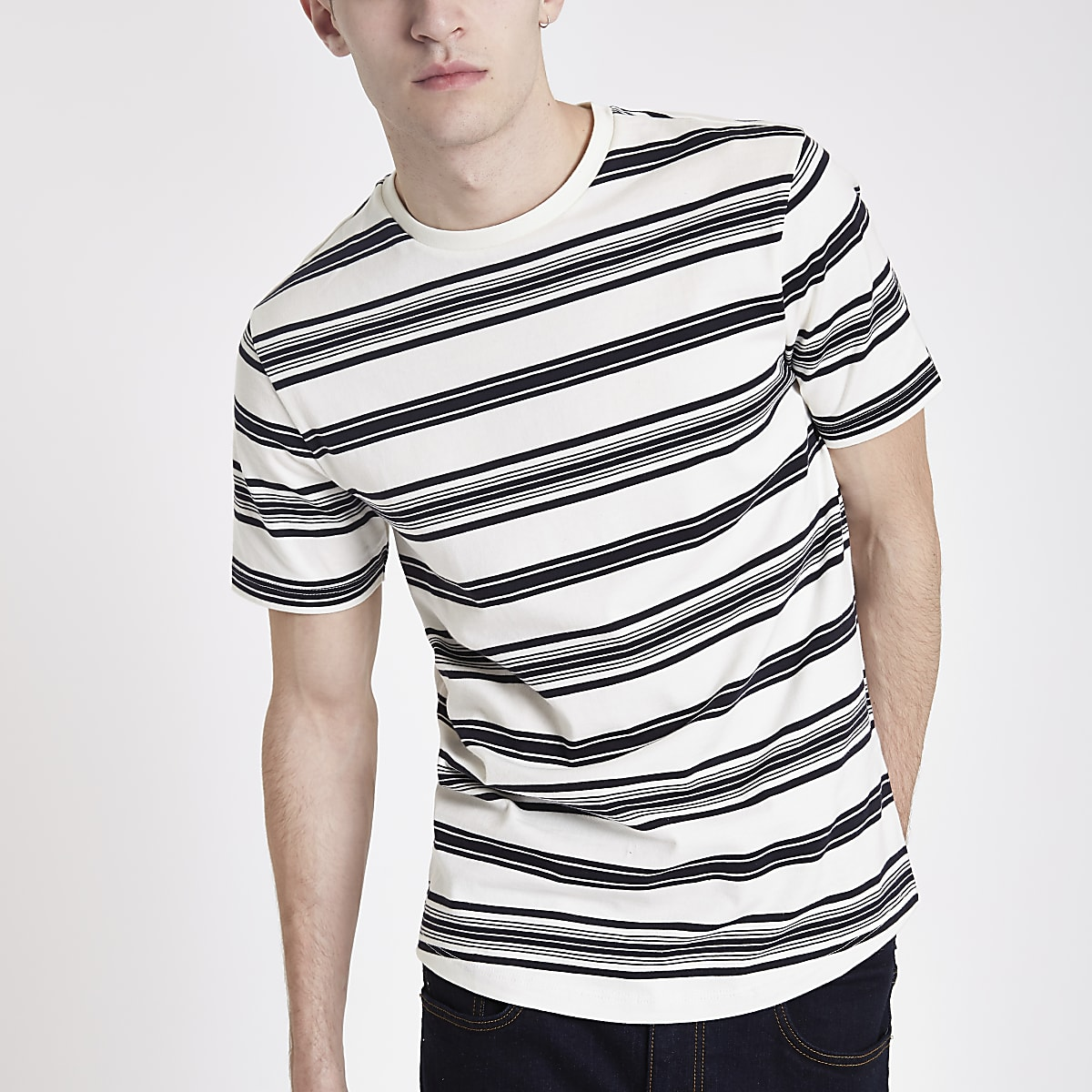 Ecru stripe short sleeve slim fit T-shirt