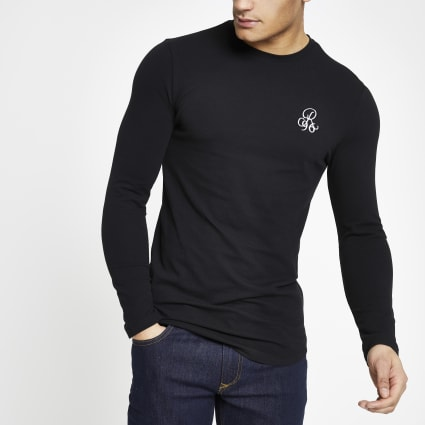 Black R96 muscle fit long sleeve T-shirt