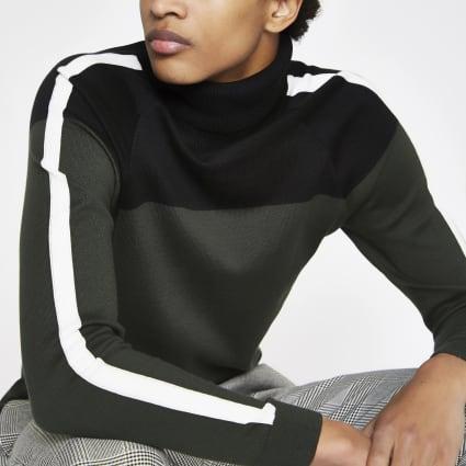Khaki slim fit block roll neck jumper